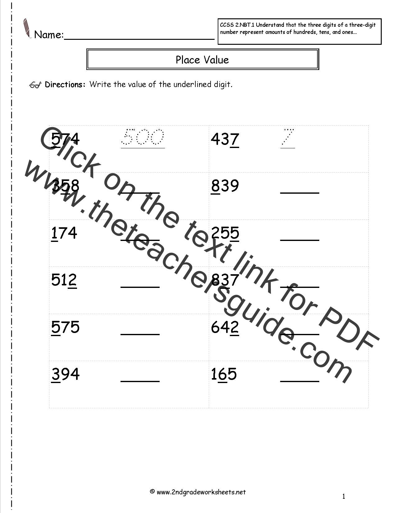 4 Nbt 6 Worksheets Ccss 2 Nbt 1 Worksheets Place Value Worksheets