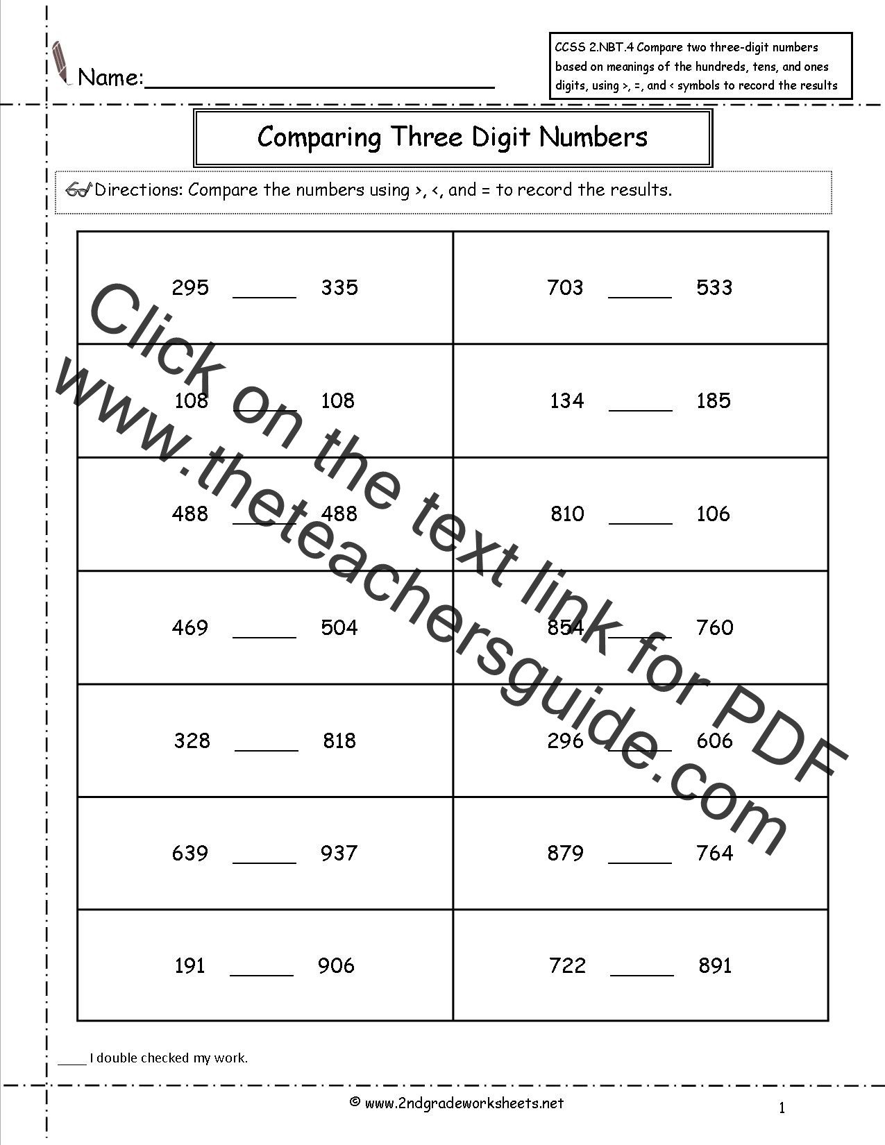 4 Nbt 6 Worksheets Ccss 2 Nbt 4 Worksheets Paring Three Digit Numbers