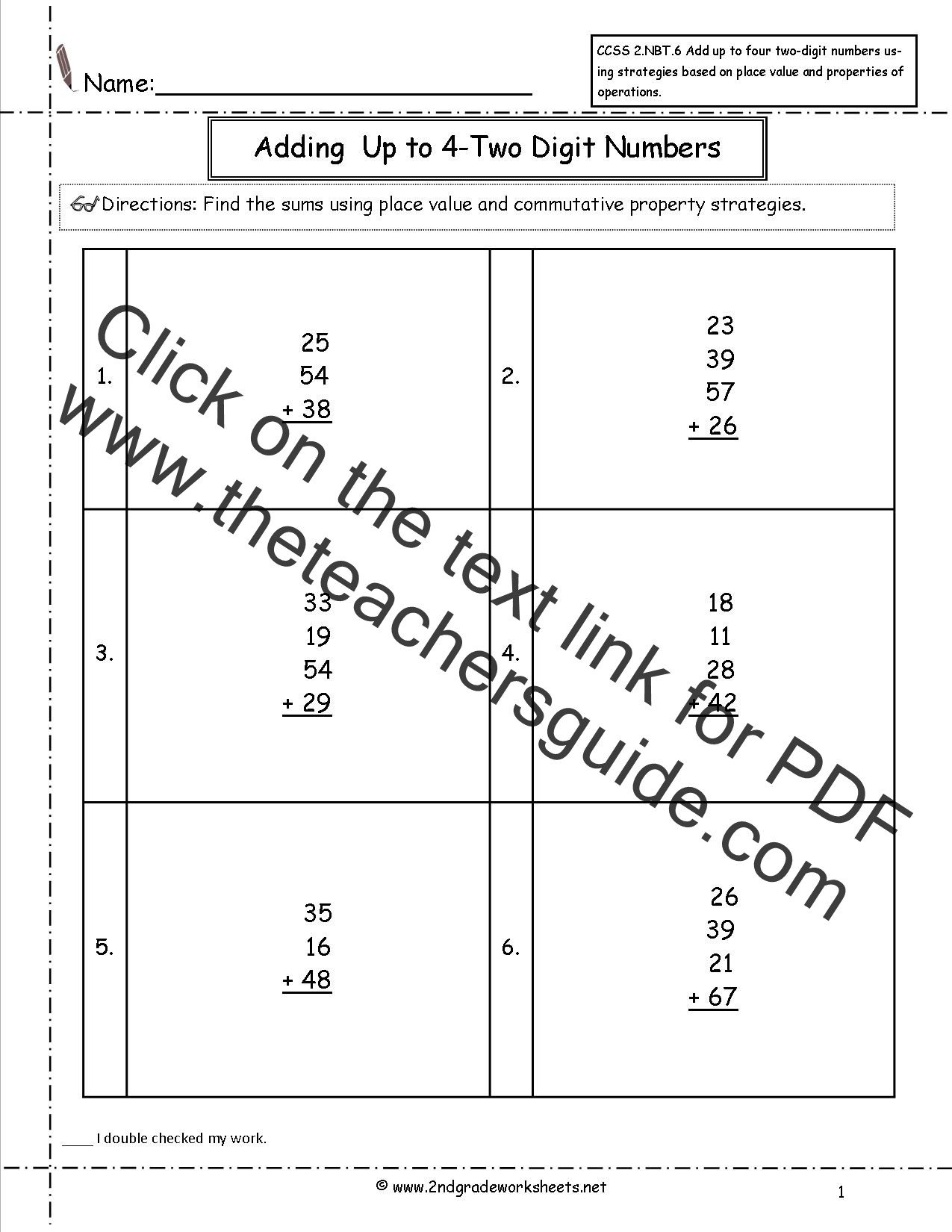 4 Nbt 6 Worksheets Ccss 2 Nbt 6 Worksheets Adding Up to Four 2 Digit Numbers