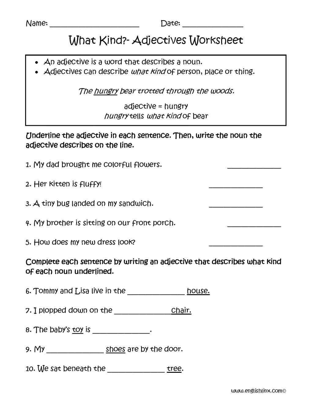 free adjective worksheets 4th grade