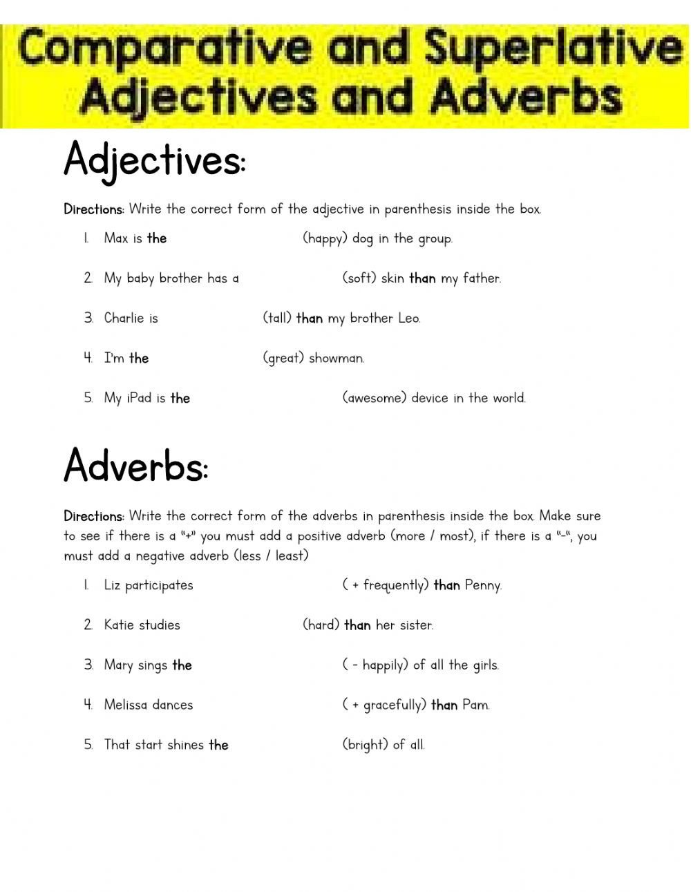 parative and Superlative Adjectives and Adverbs 4th grade pd lm