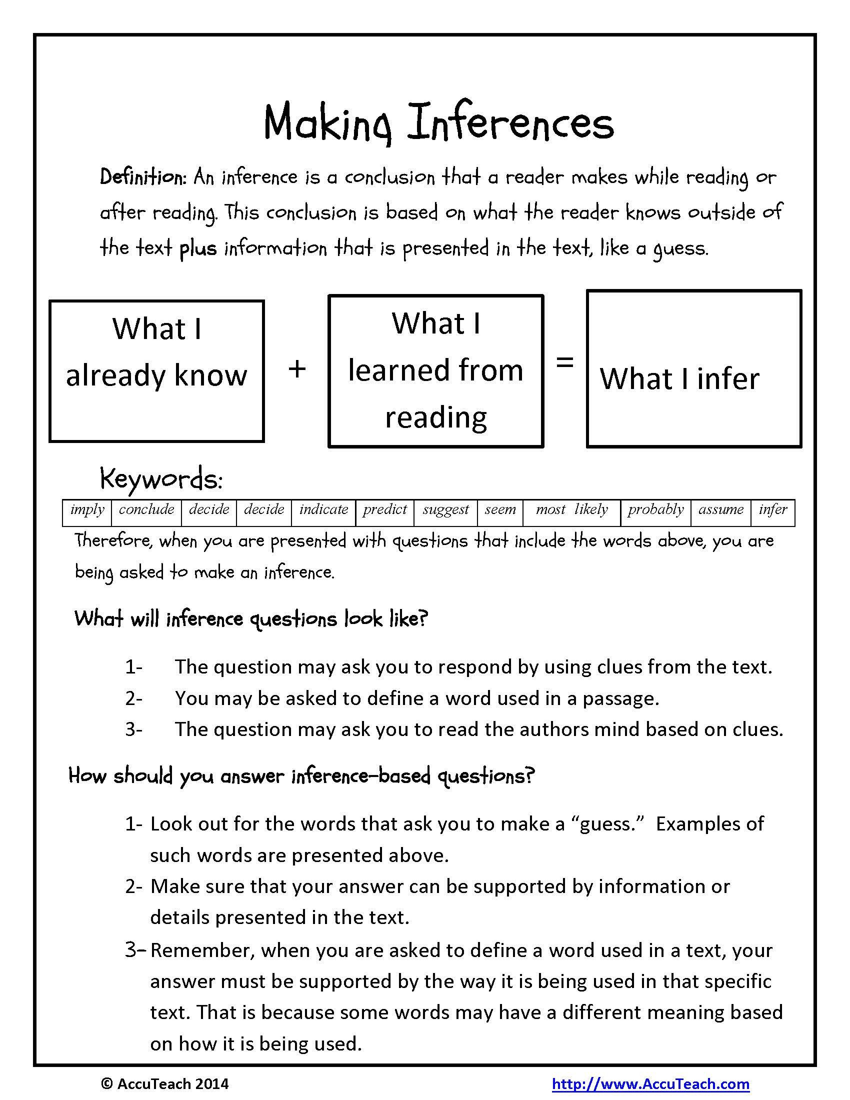 making inferences reading prehension strategy