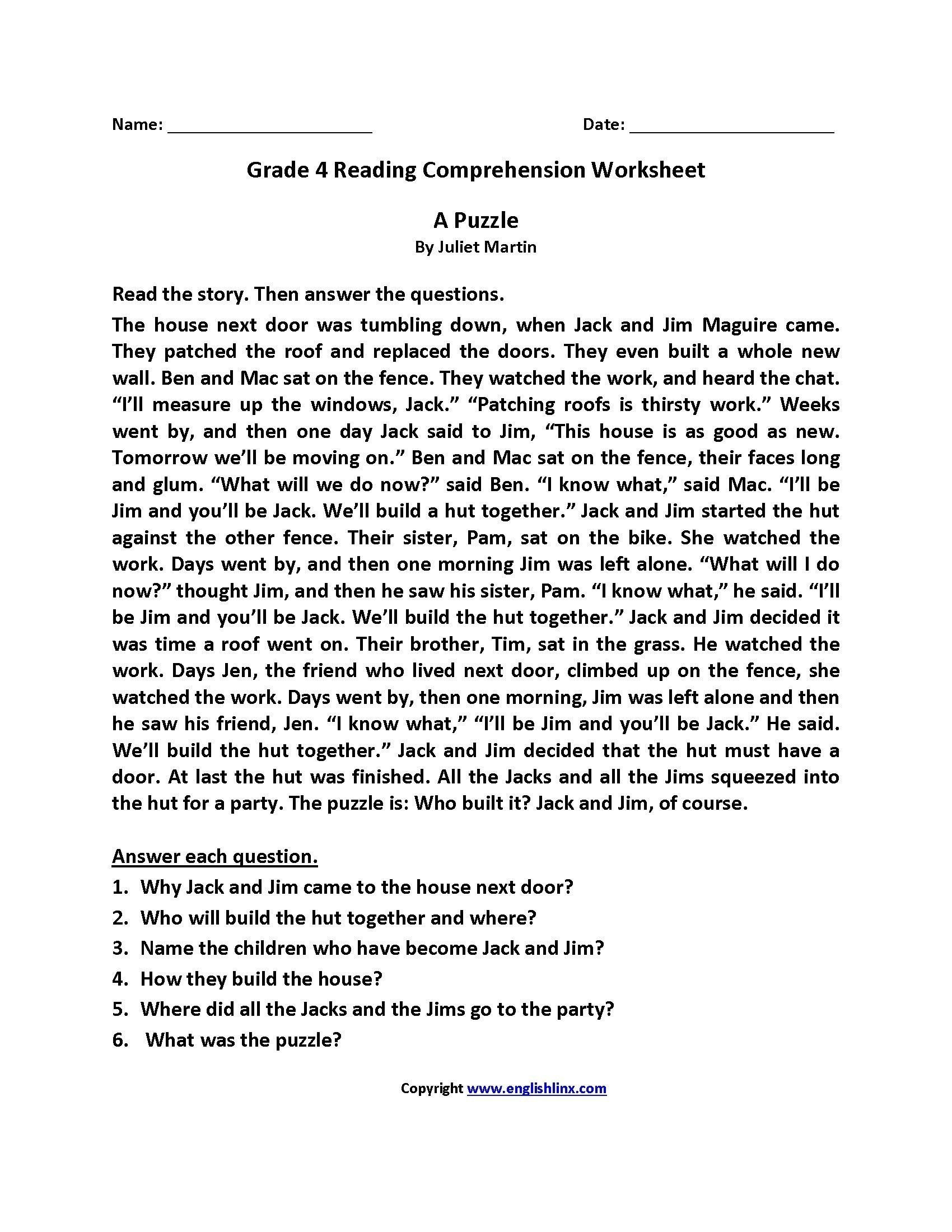 4th Grade Reading Response Worksheets 4 Worksheet Reading Prehension Worksheets Fourth Grade 4