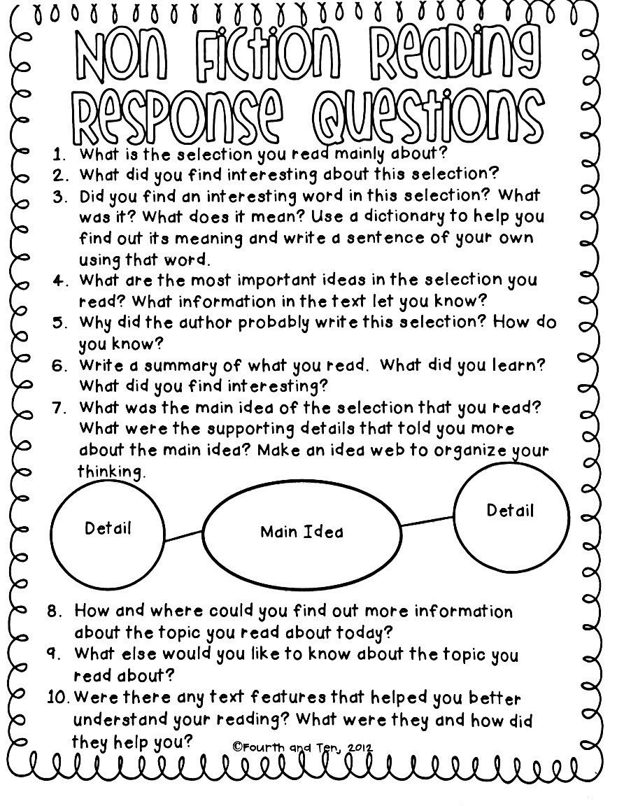 4th Grade Reading Response Worksheets Reading Response Worksheets 2nd Grade