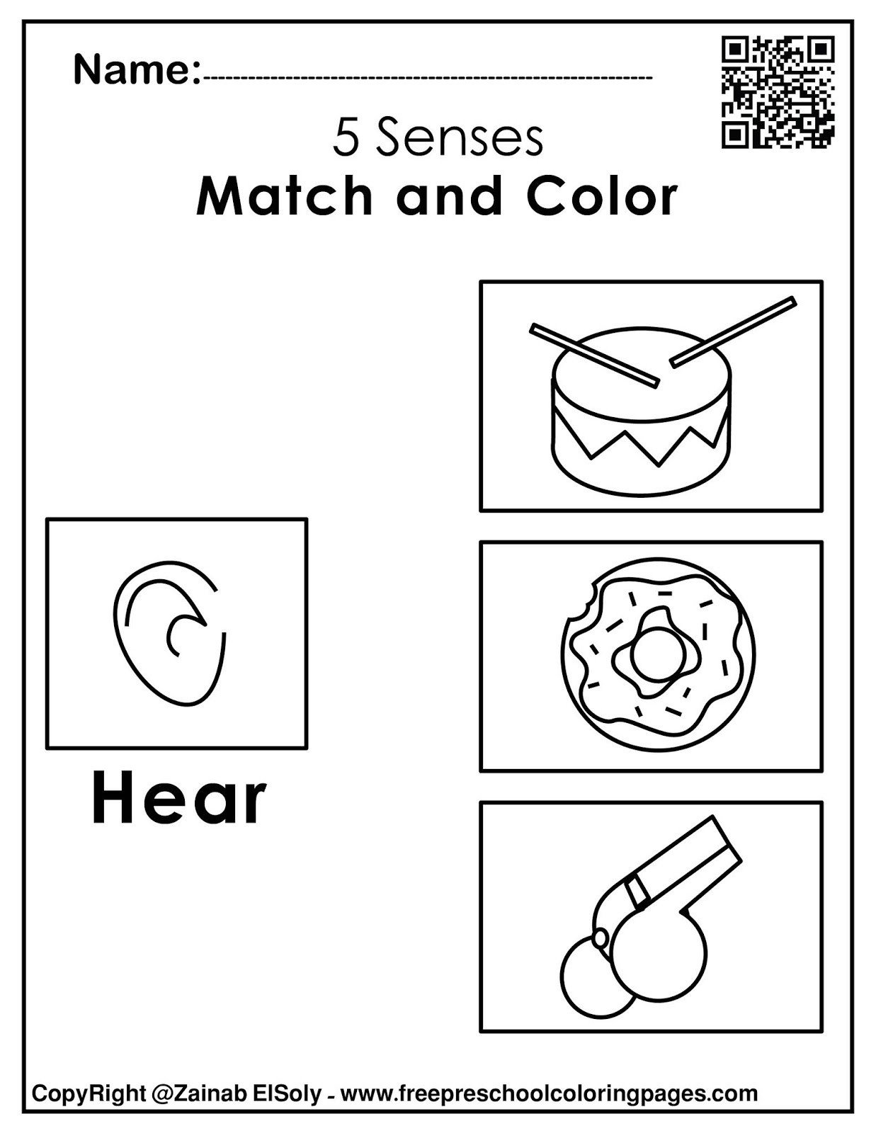 5 Senses Worksheet for Kindergarten Hearing Five Senses Worksheets