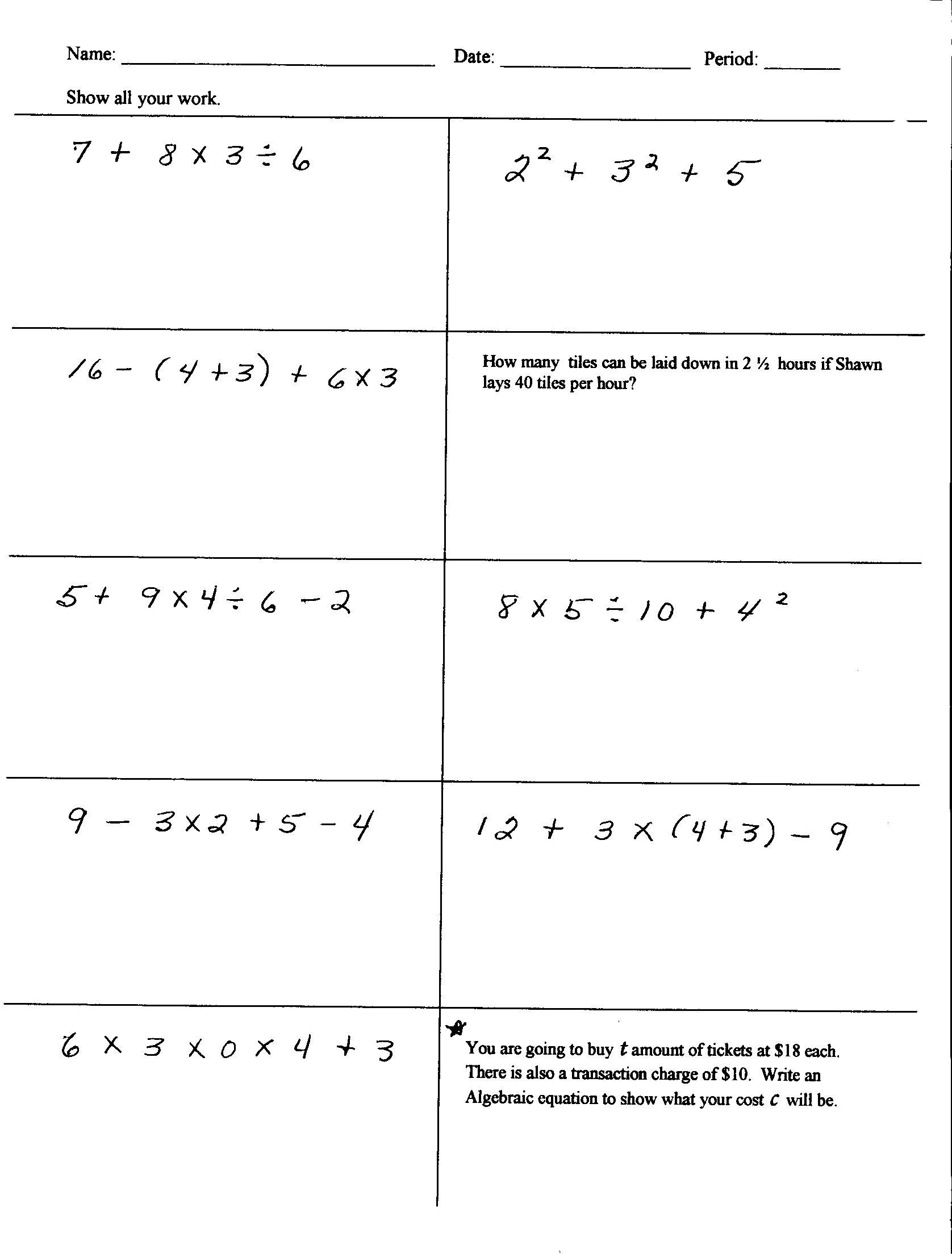 5th Grade Pemdas Worksheets 100 [ Exponent Rule Worksheet ]