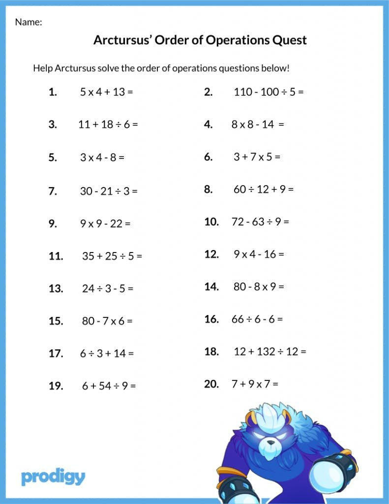 5th Grade Pemdas Worksheets order Of Operations Worksheet 19 Resources for Your Class