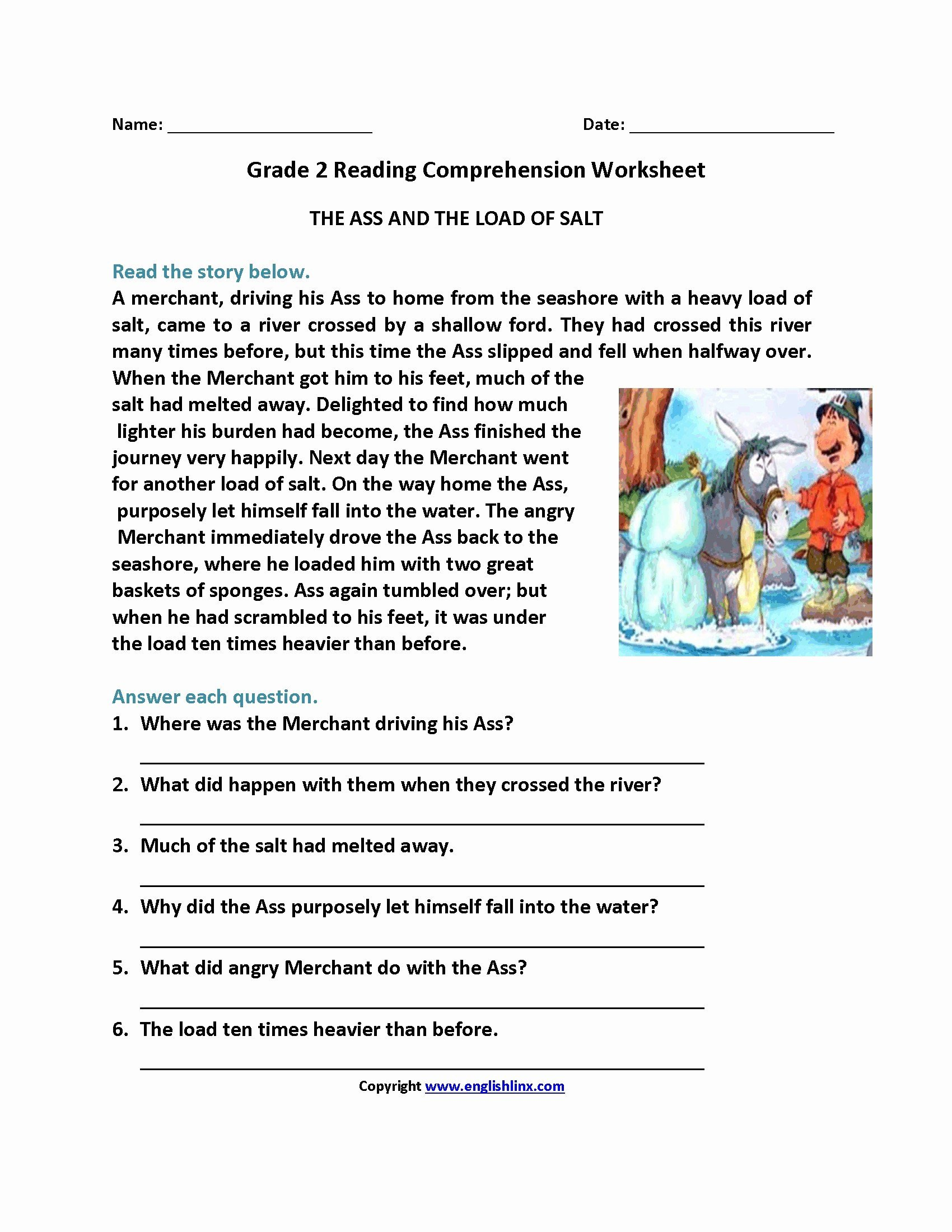4th grade reading prehension worksheets multiple choice for print 2nd third printable 3rd science with answer