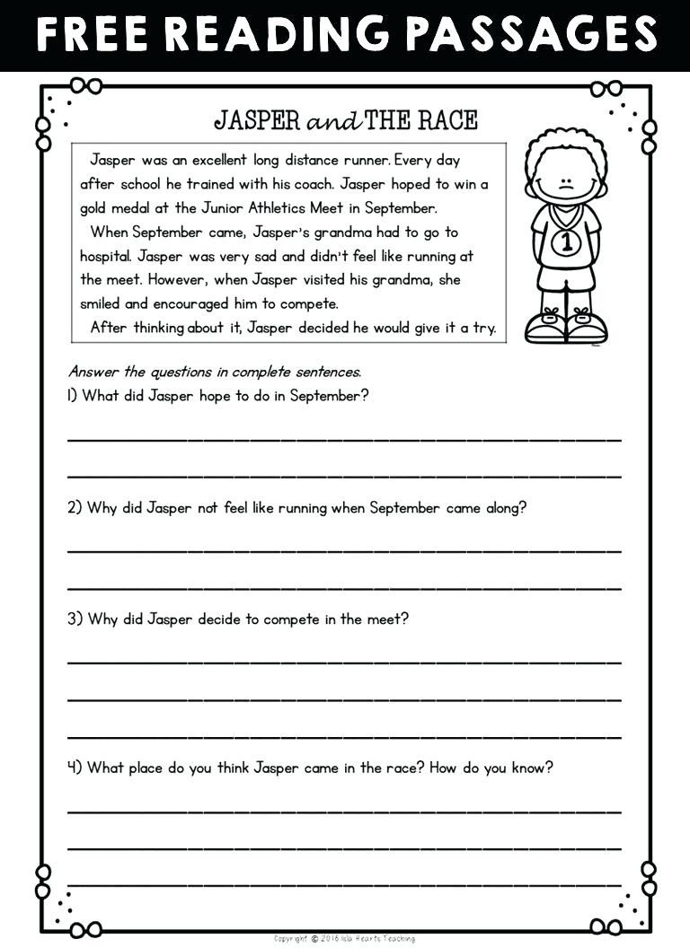 5th Grade Worksheets Printable Reading Math Worksheet Free Printable Reading Worksheets Free