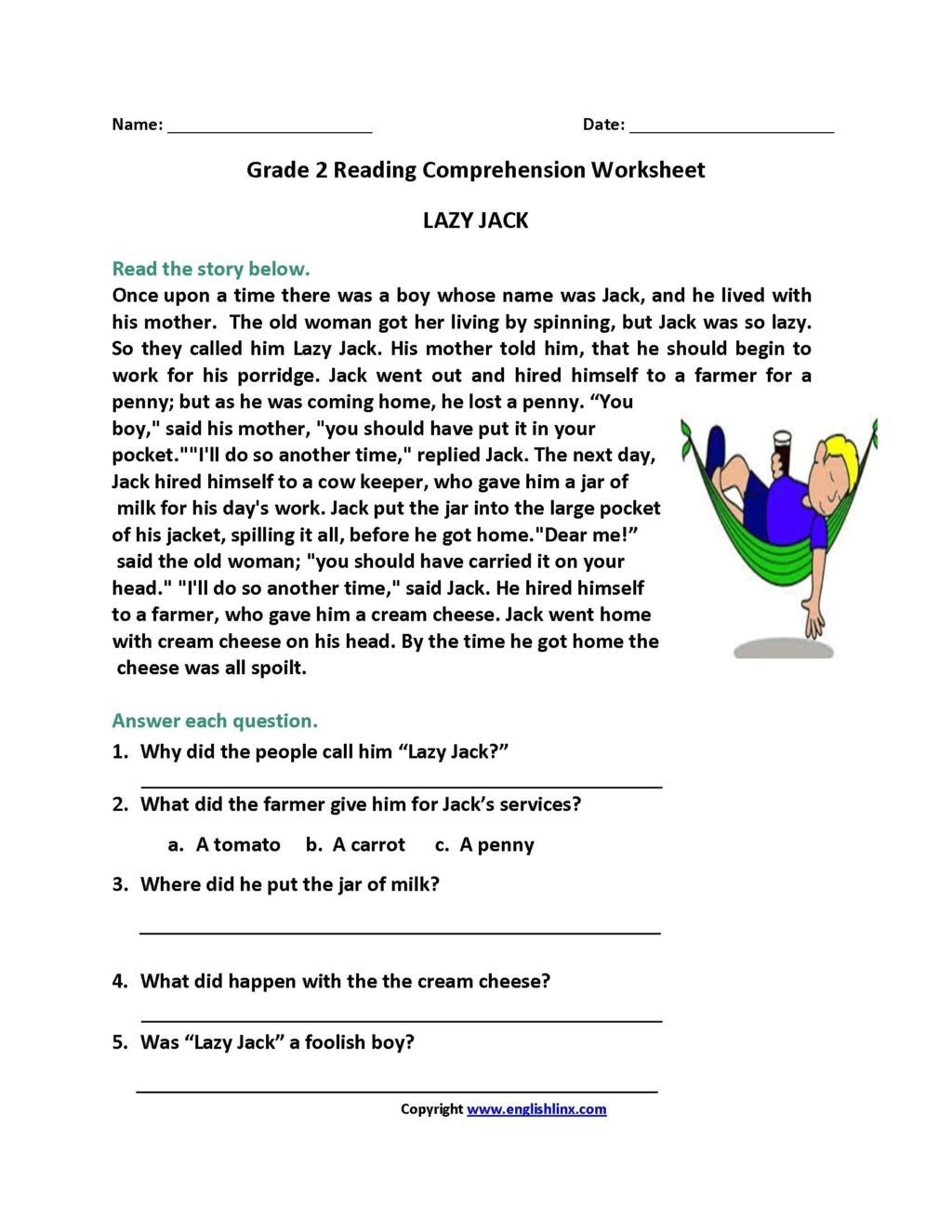 5th Grade Worksheets Printable Reading Worksheet Printable Reading Prehension Worksheets for