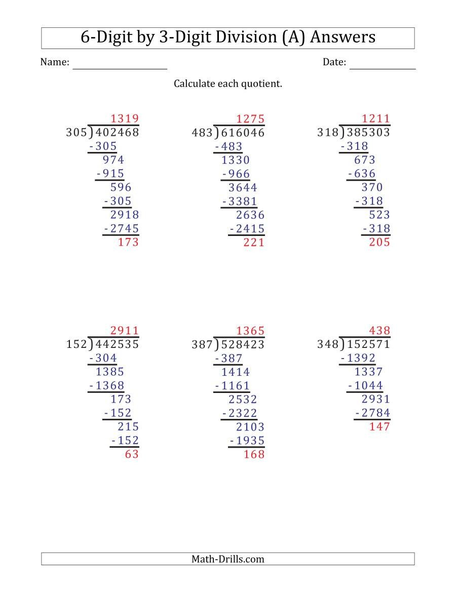 6 Digit Subtraction Worksheets Digit by Division with Remainders and Steps Shown Worksheets