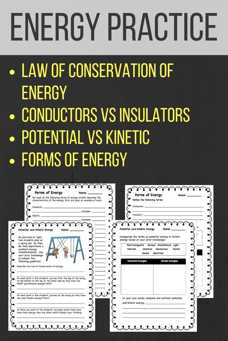 6th Grade Science Energy Worksheets 4 Student Worksheets Covering Potential Vs Kinetic Energy
