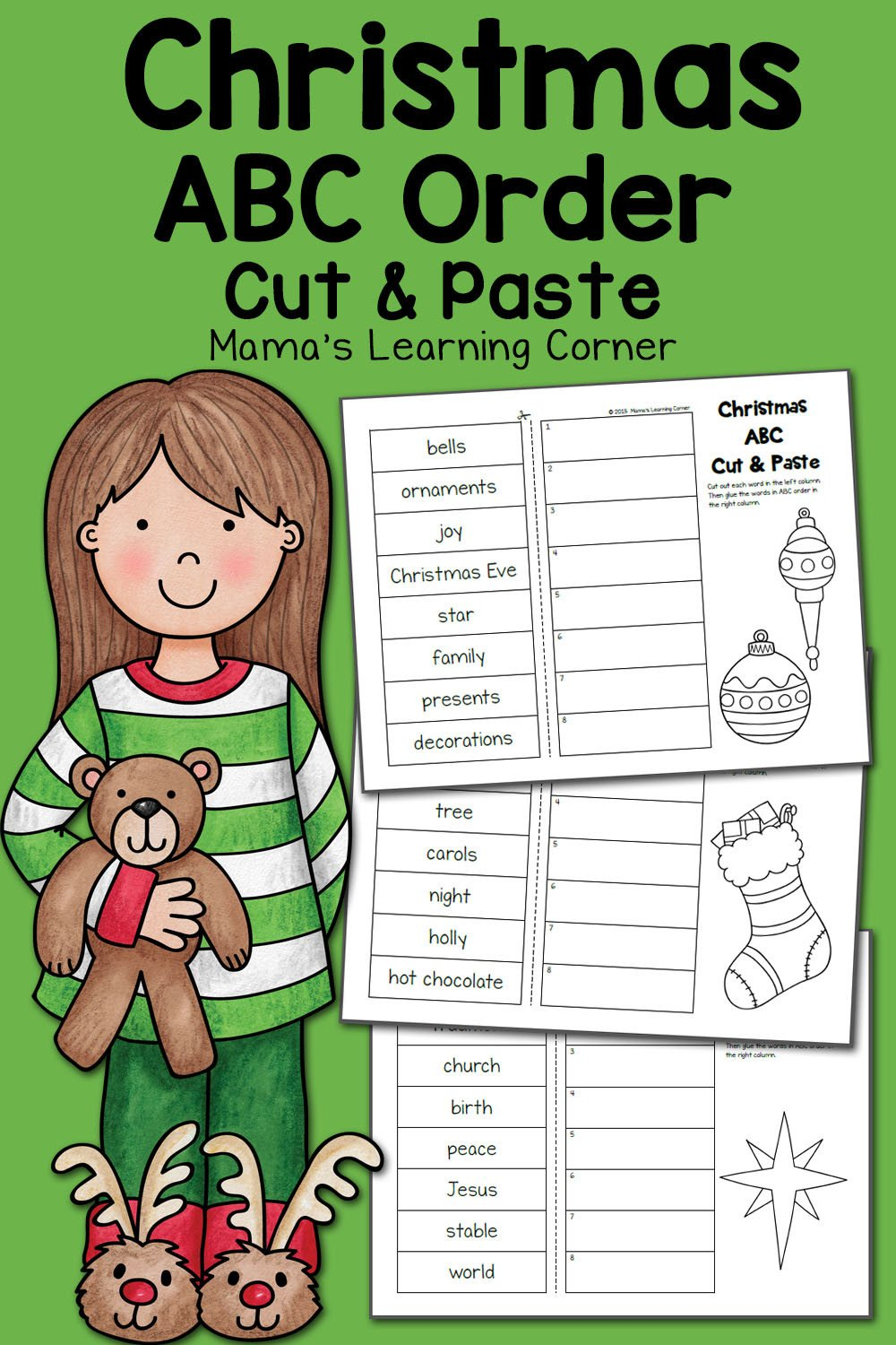 Abc order Worksheet Kindergarten Christmas Abc order Worksheets Cut and Paste Mamas