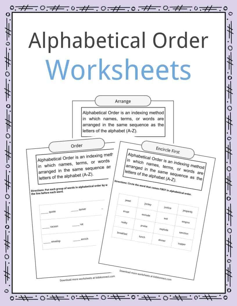 Abc order Worksheets Kindergarten Alphabetical order Worksheets Examples & Definition