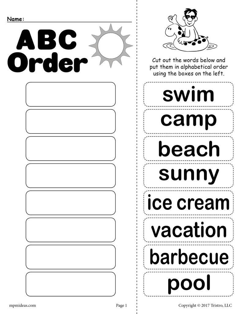 Abc order Worksheets Kindergarten Summer Alphabetical order Worksheet