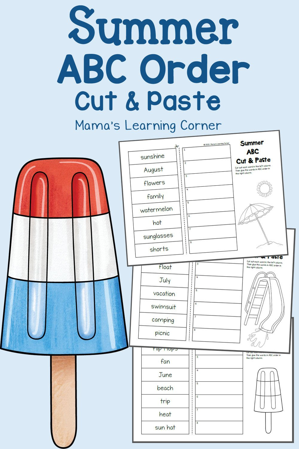 Abc order Worksheets Kindergarten Summer Cut and Paste Abc order Worksheets Mamas Learning