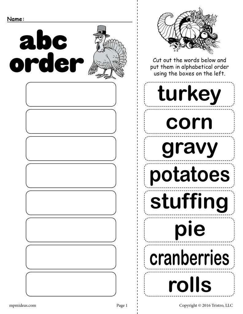 Abc order Worksheets Kindergarten Thanksgiving themed Alphabetical order Worksheet