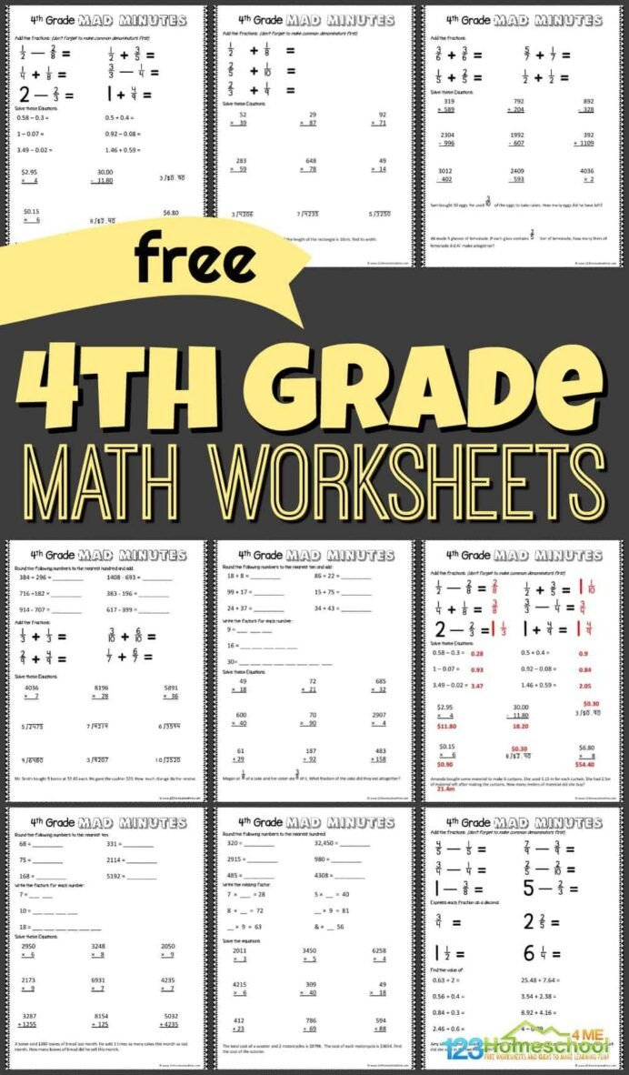 Abeka 3rd Grade Math Worksheets Free 4th Grade Math Worksheets Fourth Printable Abeka