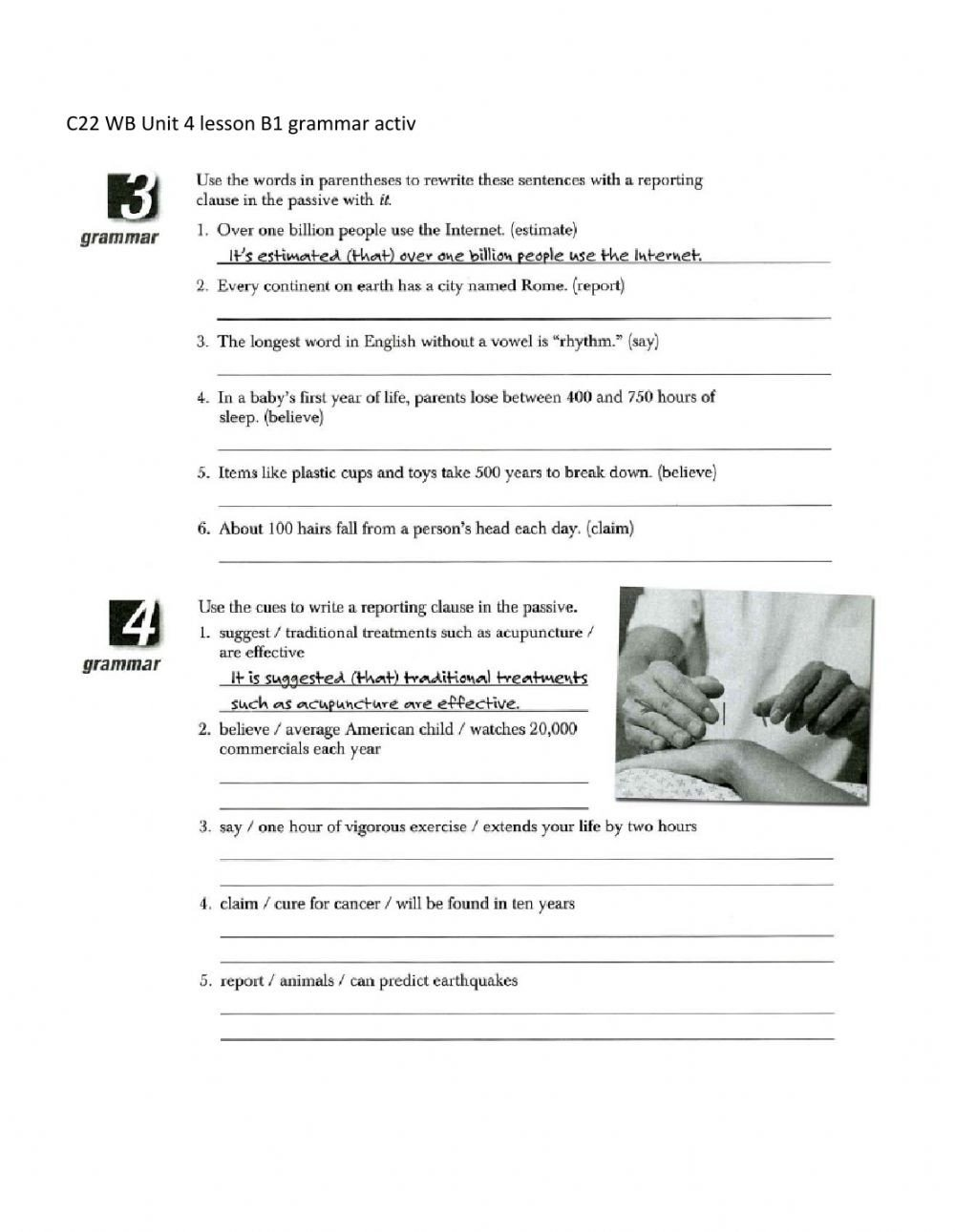 Act Grammar Worksheets C22 Wb U4 Lb Grammar Act Interactive Worksheet