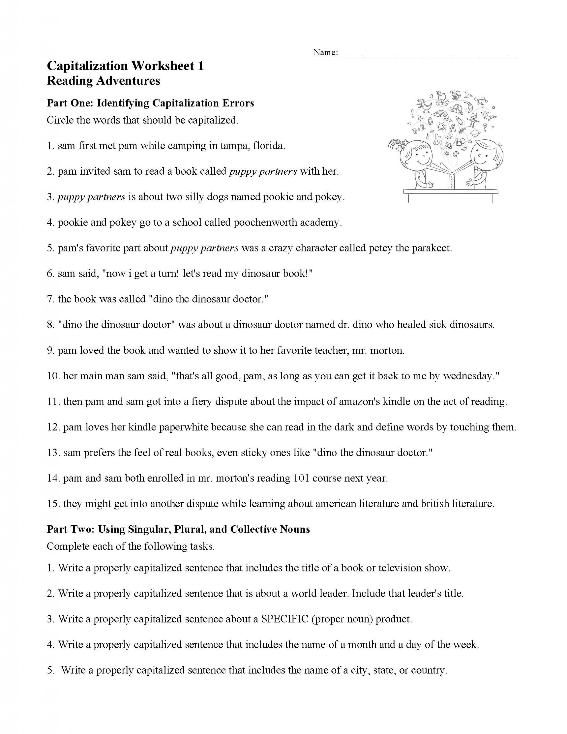 Act Grammar Worksheets Capitalization Worksheet 1