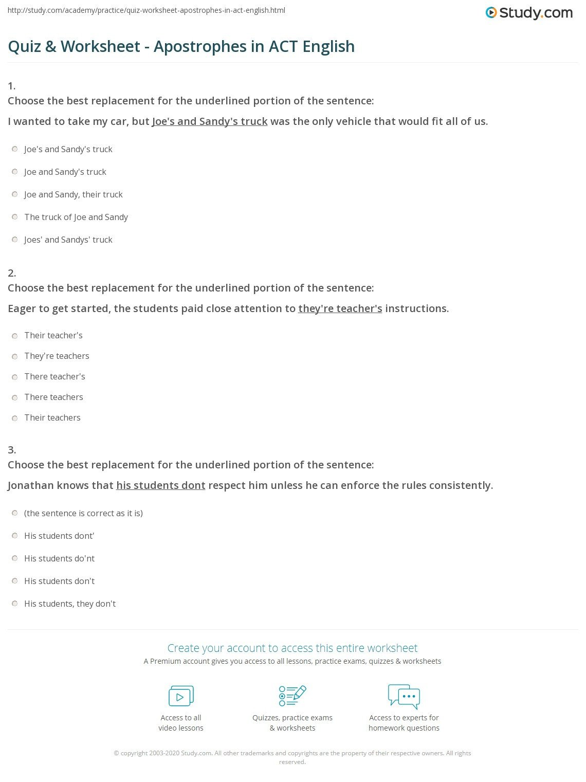 Act Grammar Worksheets Quiz Worksheet Apostrophes In Act English Study Grammar