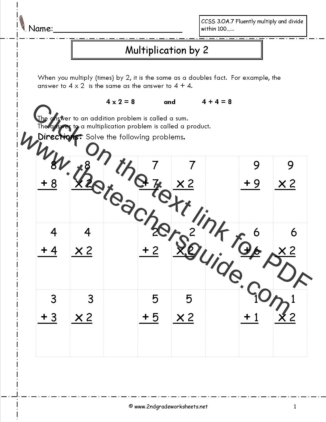 Adding Doubles Worksheet 2nd Grade Doubles Worksheet First Grade