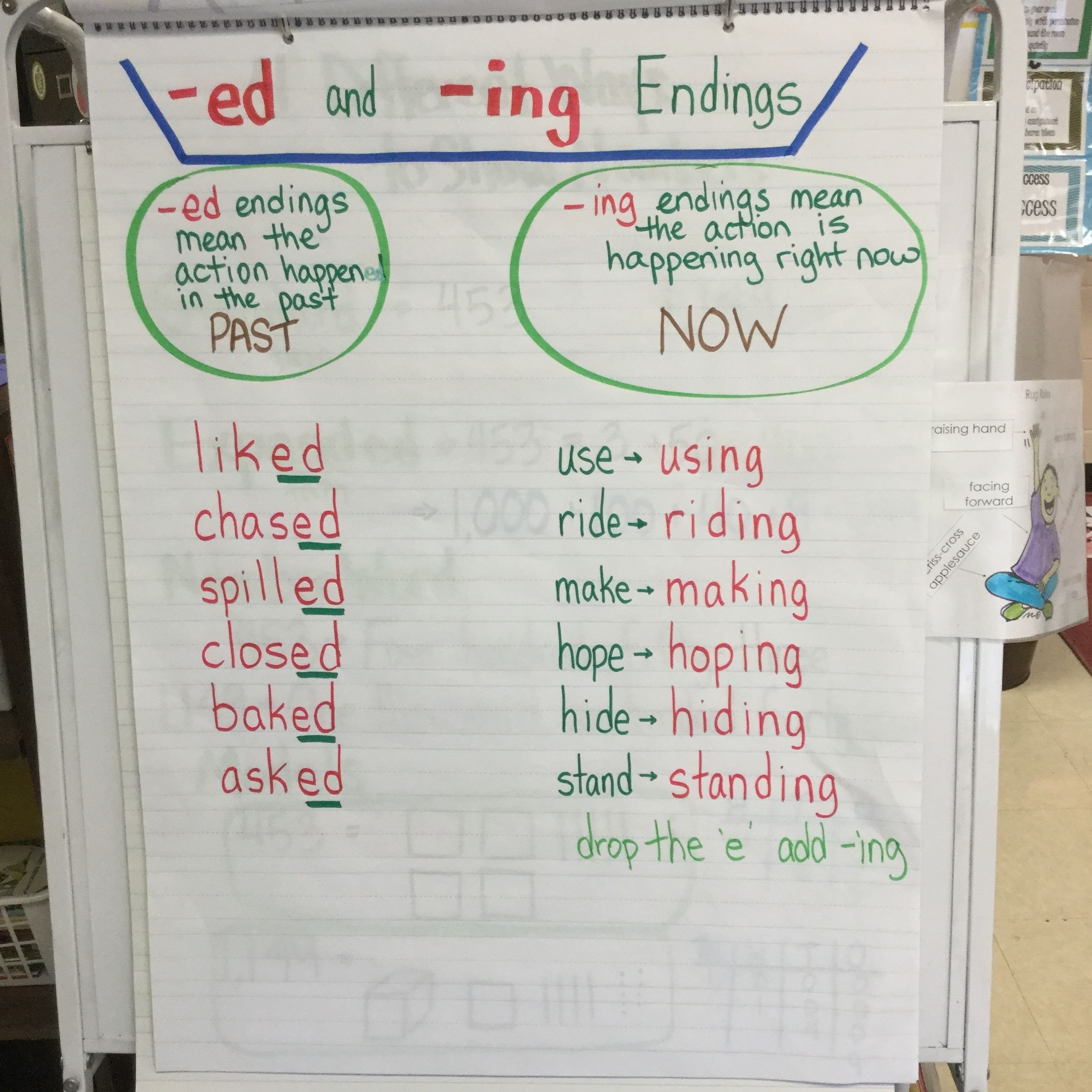 Adding Ing to Verbs Worksheet Ed and Ing Endings Drop the E and Add Ing