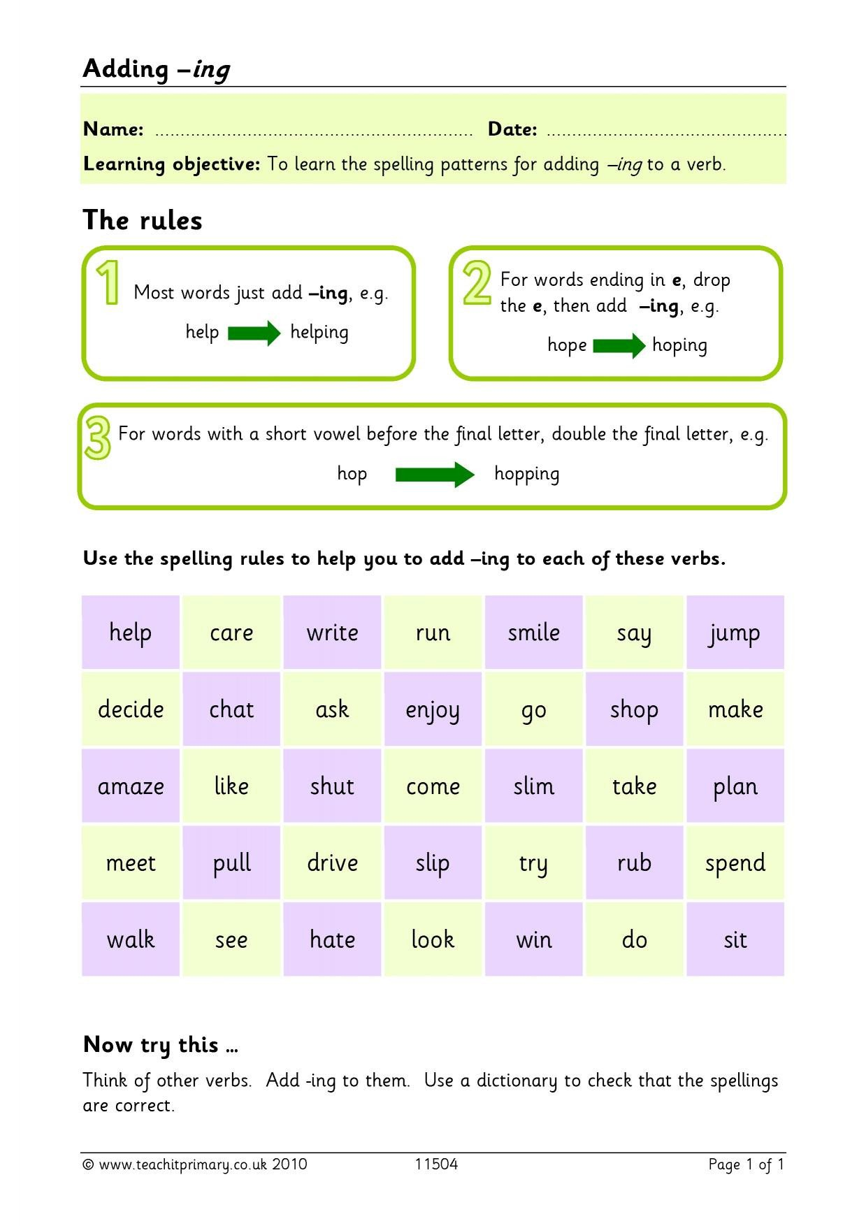 Adding Ing to Verbs Worksheet Verbs with Ing Ending Worksheets