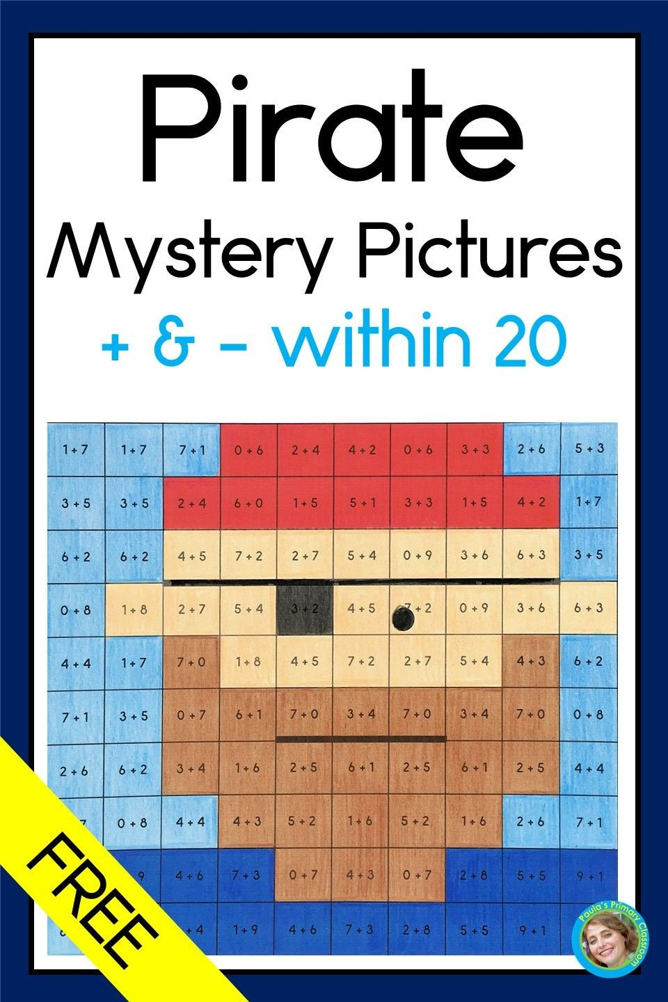 Addition Mystery Picture Worksheets Pirates Mystery with Addition and Subtraction
