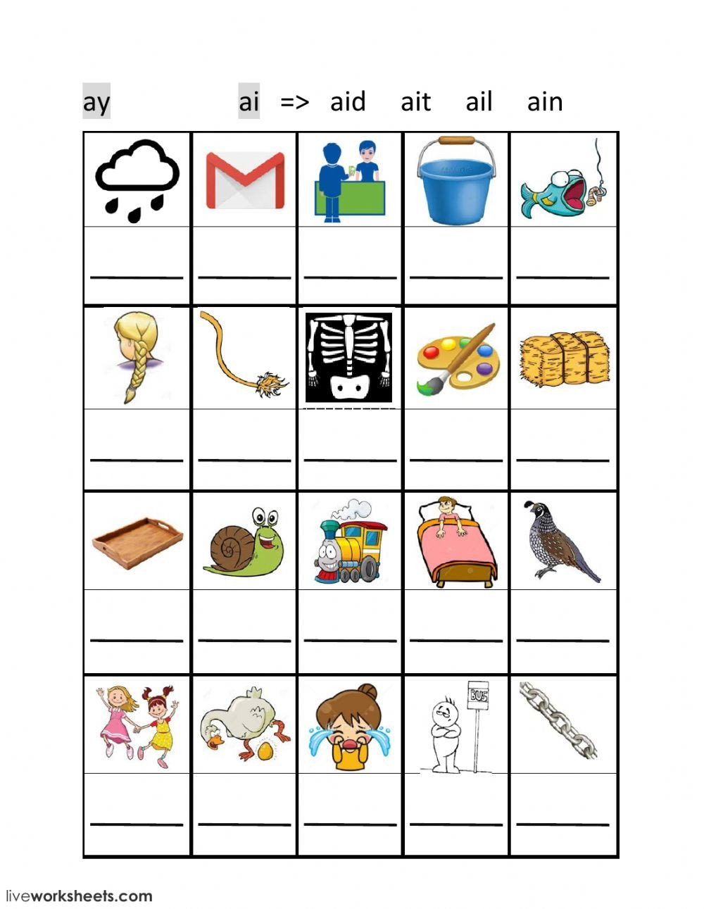 Ai Phonics Worksheet Ai Ay Phonics Interactive Worksheet