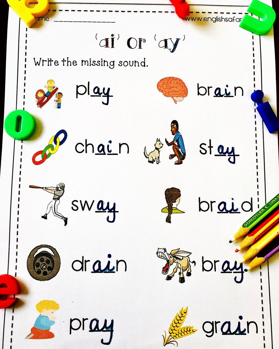 "Ai Phonics Worksheet Englishsafari On Twitter "" Free Ai Ay Words Worksheet"