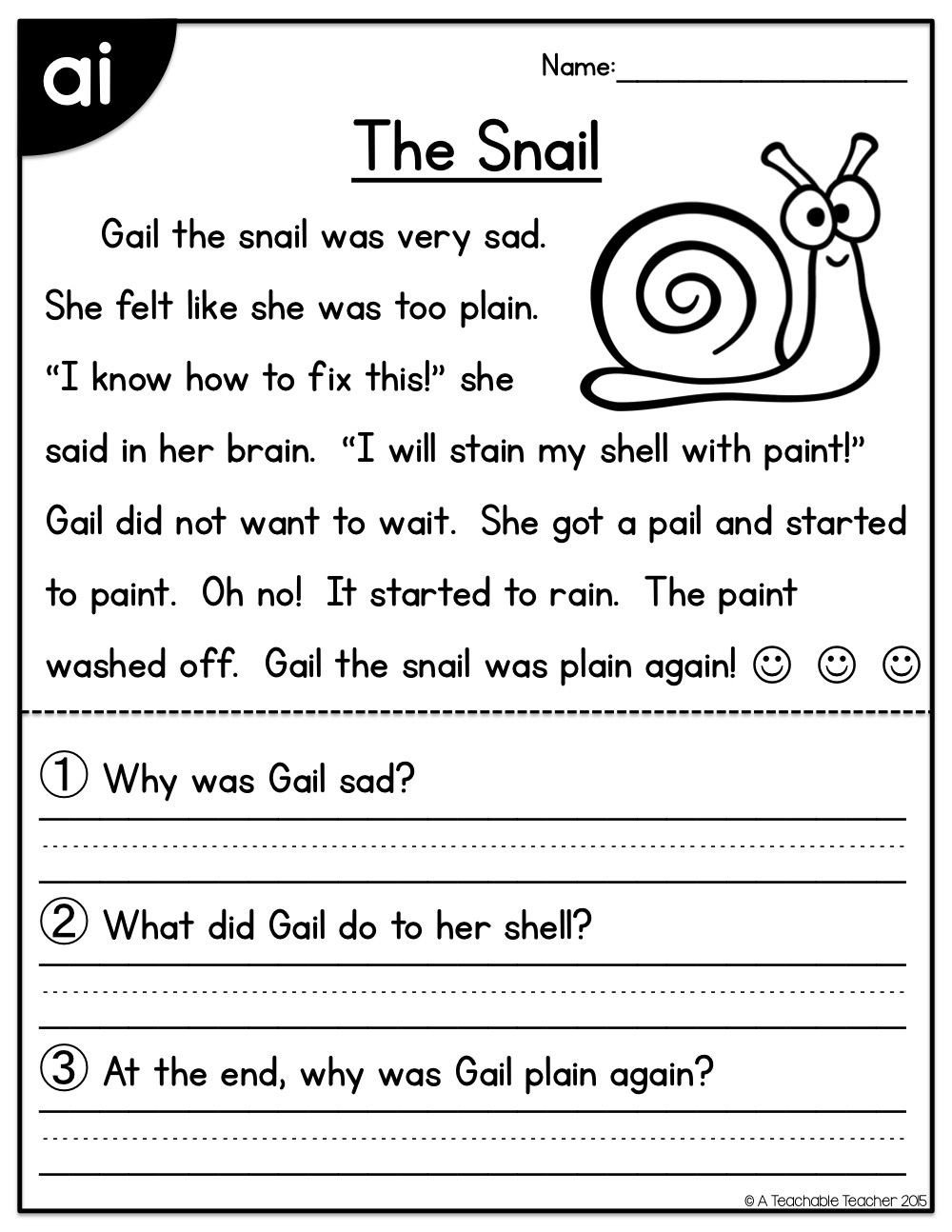 Ai Phonics Worksheet Long Vowels Reading Passages Freebie