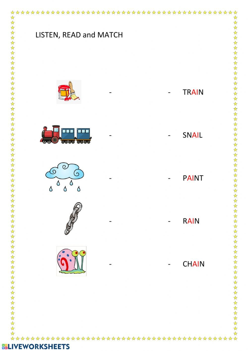 Ai Phonics Worksheet Phonics Ai Interactive Worksheet