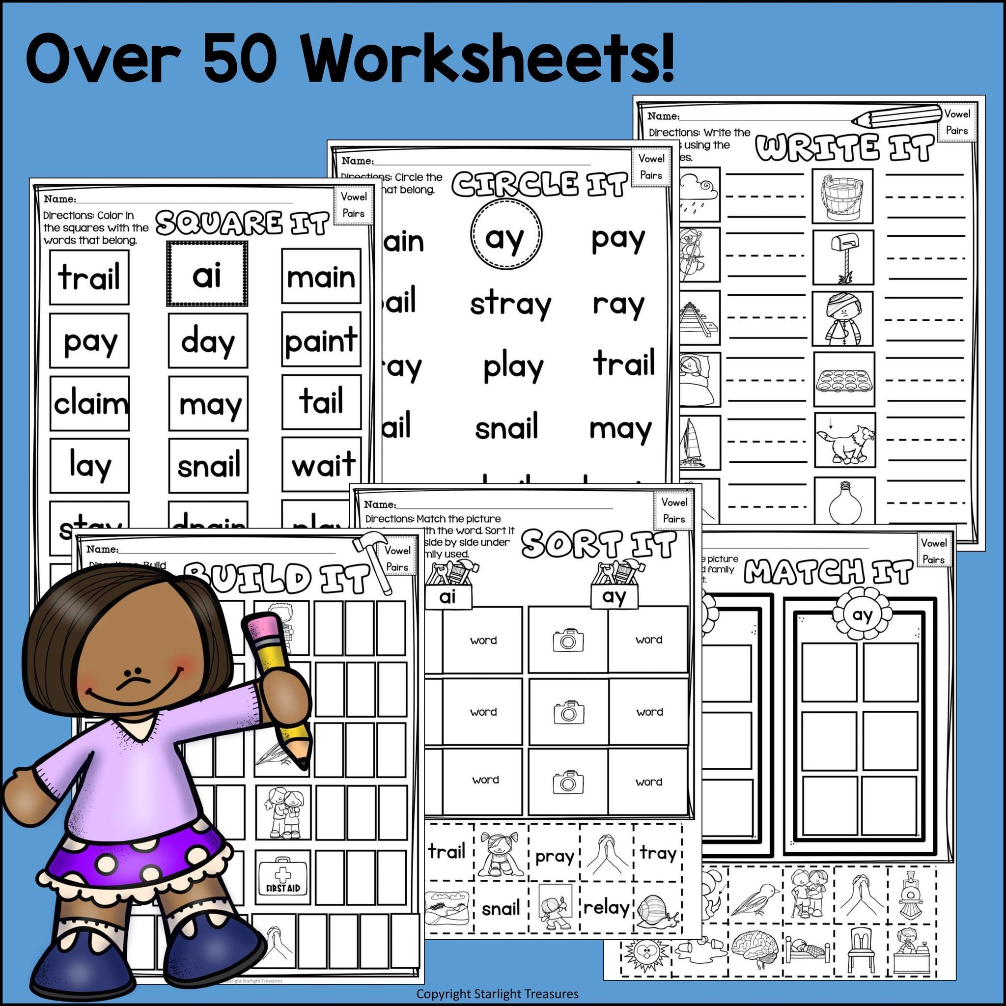 Ai Phonics Worksheet Vowel Pairs Ai Ay Worksheets and Activities for Early