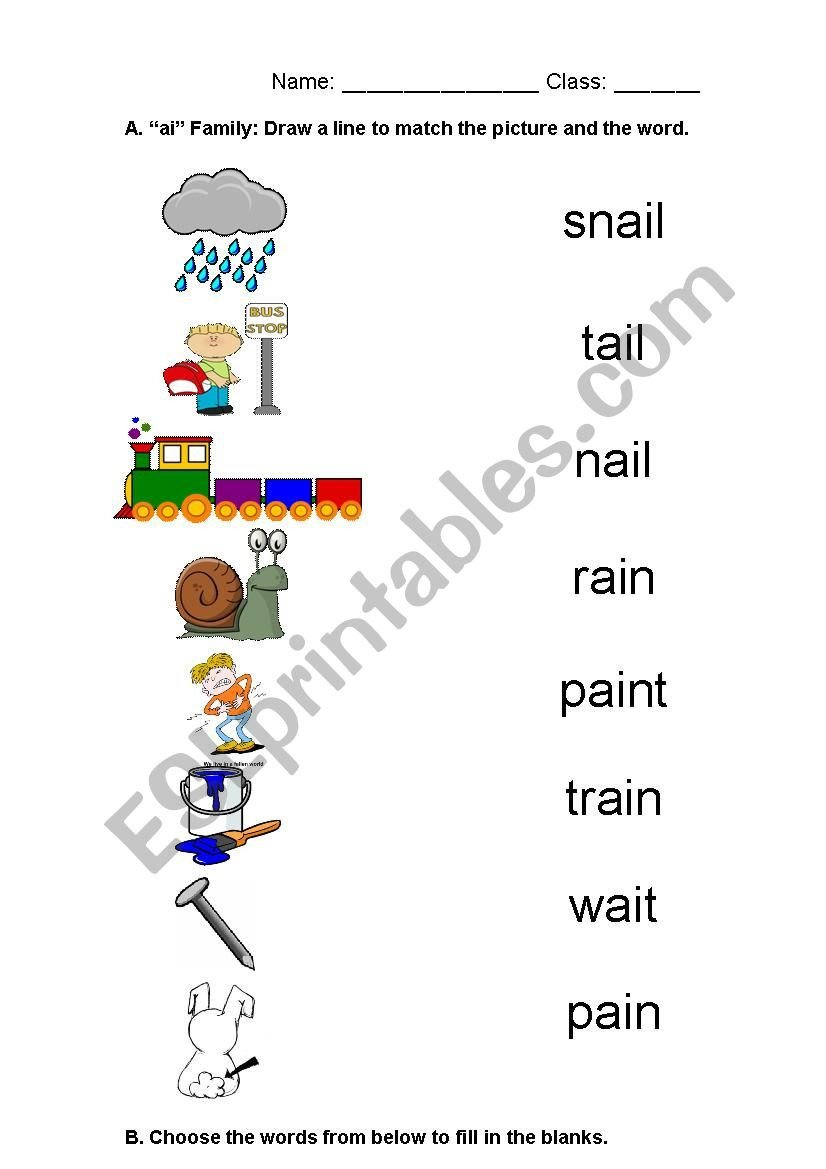 Ai Words Worksheets Ai Oa Phonics Worksheet Esl Worksheet by Summerchan1219