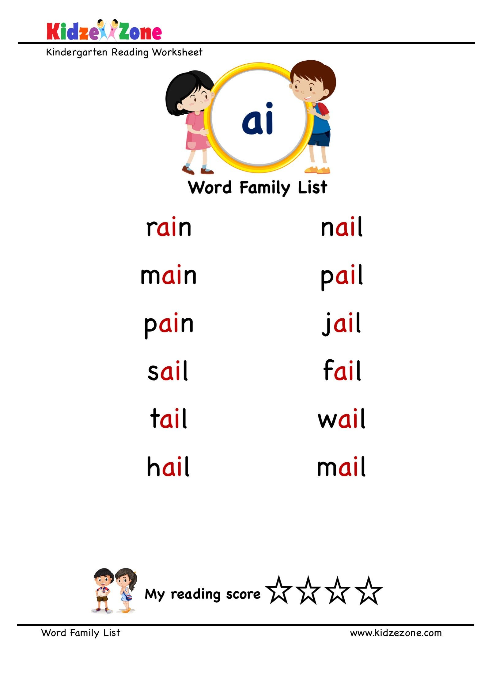 "Ai Words Worksheets Explore and Learn Words From ""ai"" Word Family with Word List"