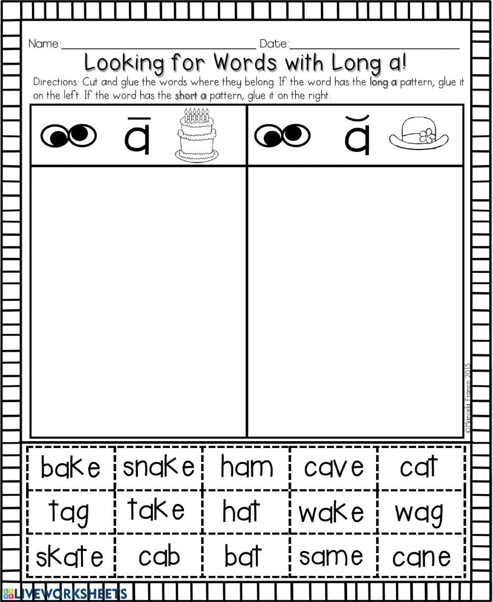 Ai Words Worksheets Long A Words with Ai Ay A E Phonics Worksheet