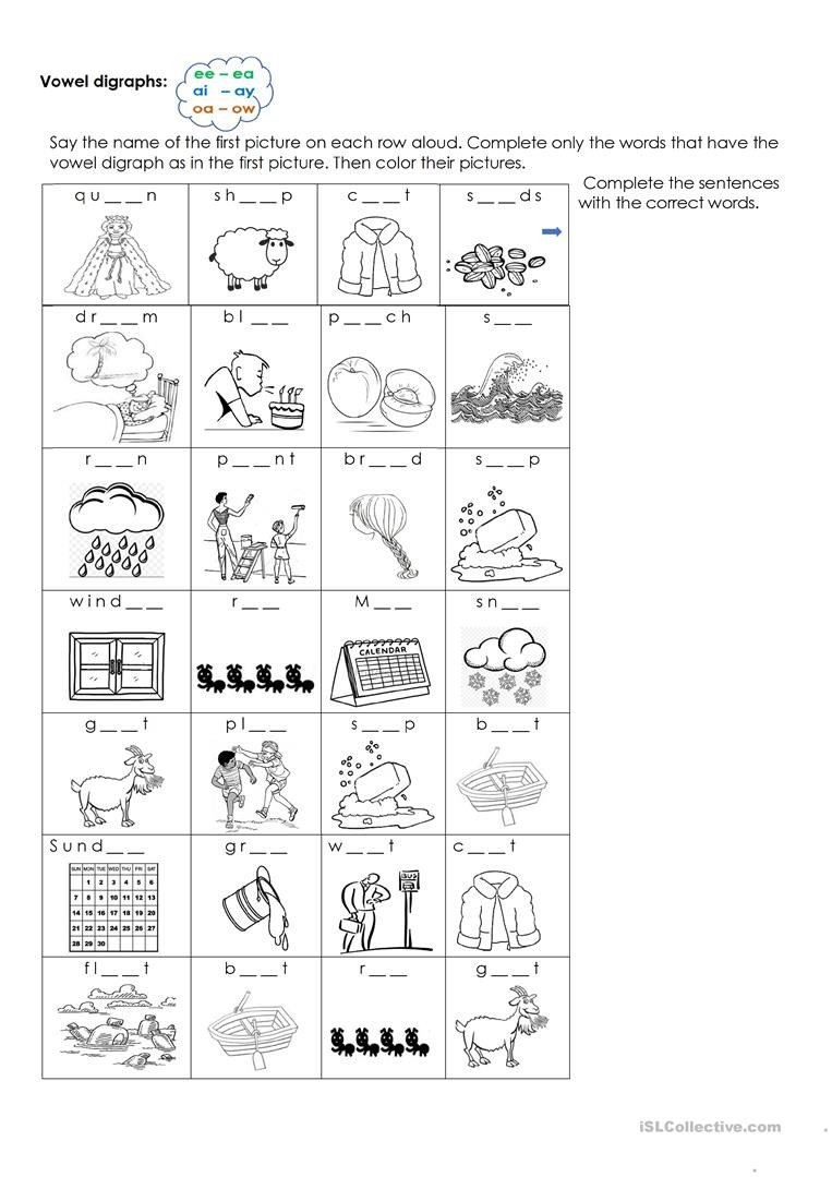 Ai Words Worksheets Vowel Digraphs Ee Ea Ai Ay Oa Ow English Esl Worksheets