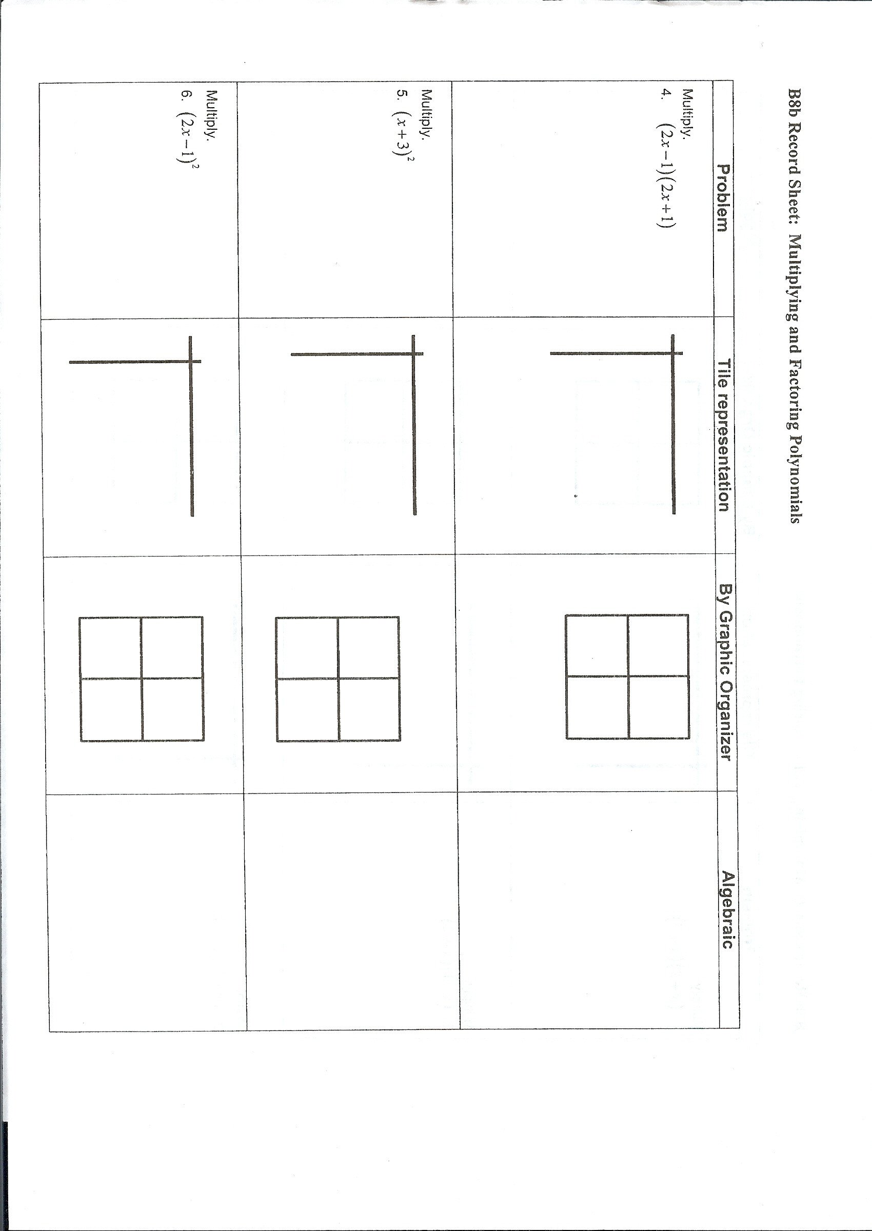 Algebra Tiles Worksheets 6th Grade Wisniewski Boyd Wel E