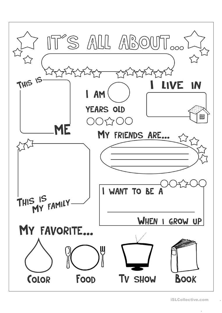 All About Me Kindergarten Worksheet All About Me English Esl Worksheets for Distance Learning