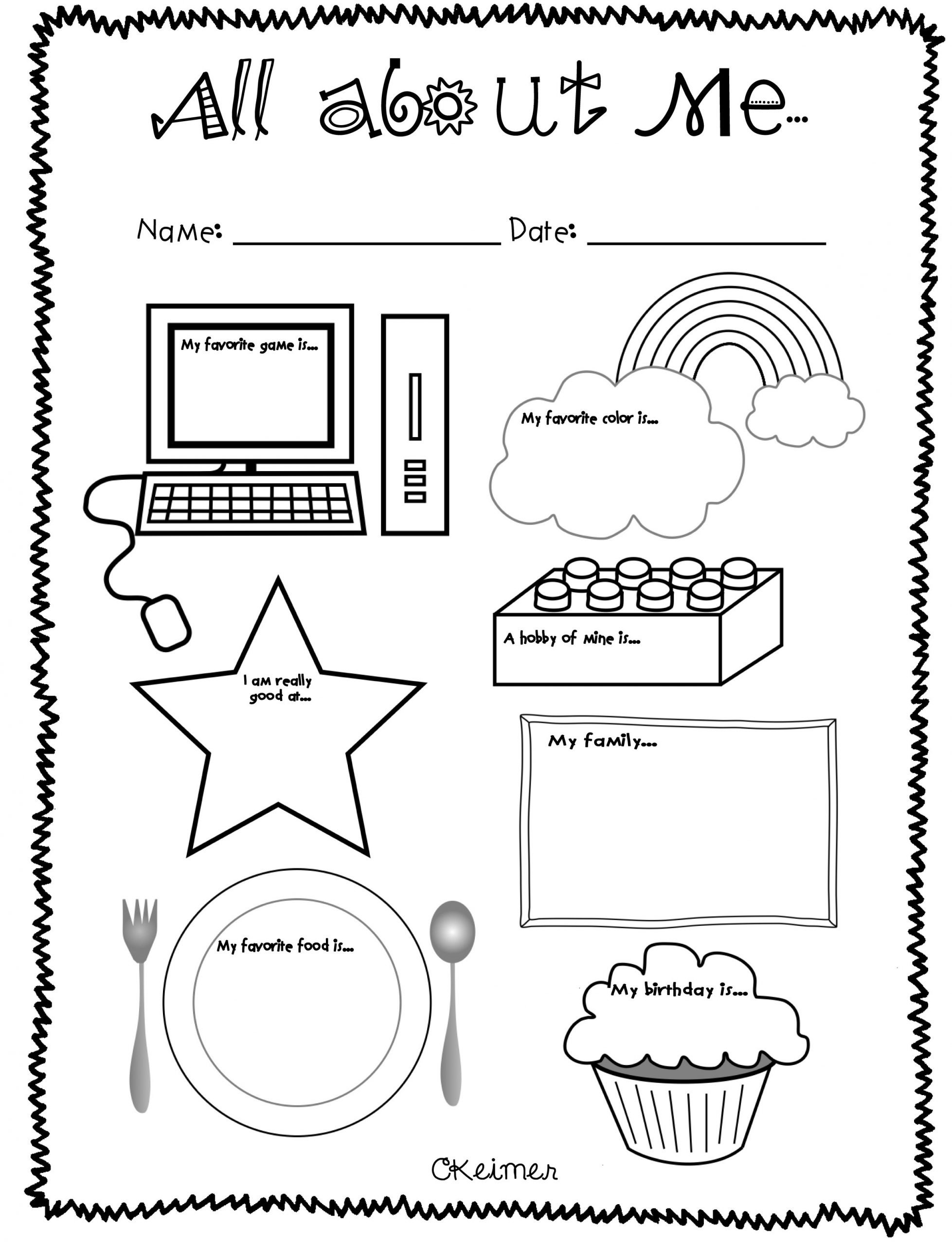 All About Me Kindergarten Worksheet All About Me Lessons Tes Teach