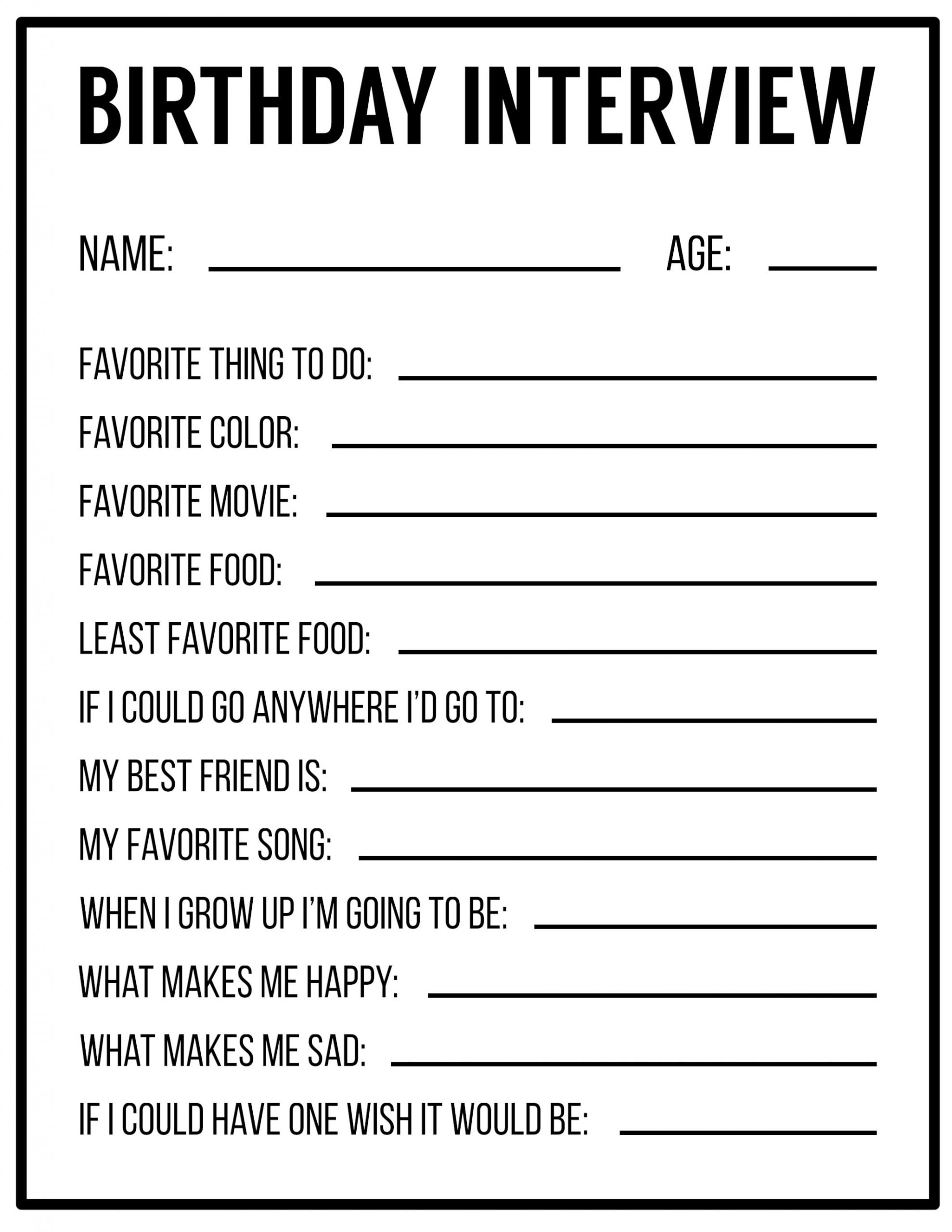 All About Me Kindergarten Worksheet All About Me Printables Interview Template
