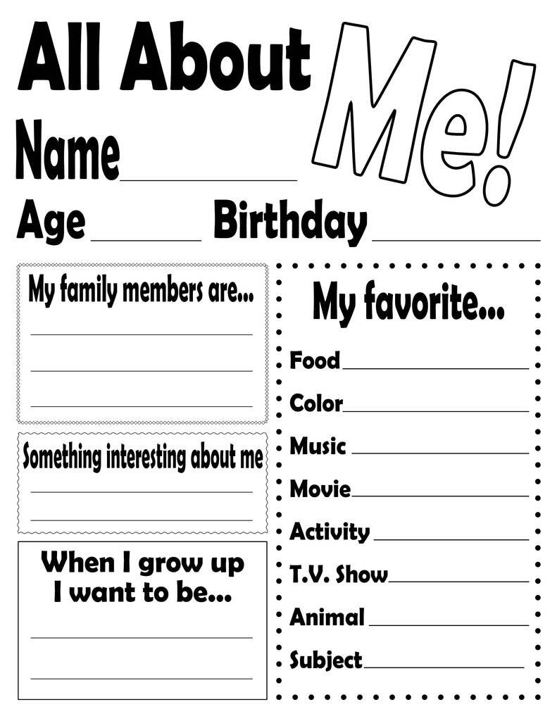 All About Me Kindergarten Worksheet All About Me Worksheet and Printable Poster – Supplyme