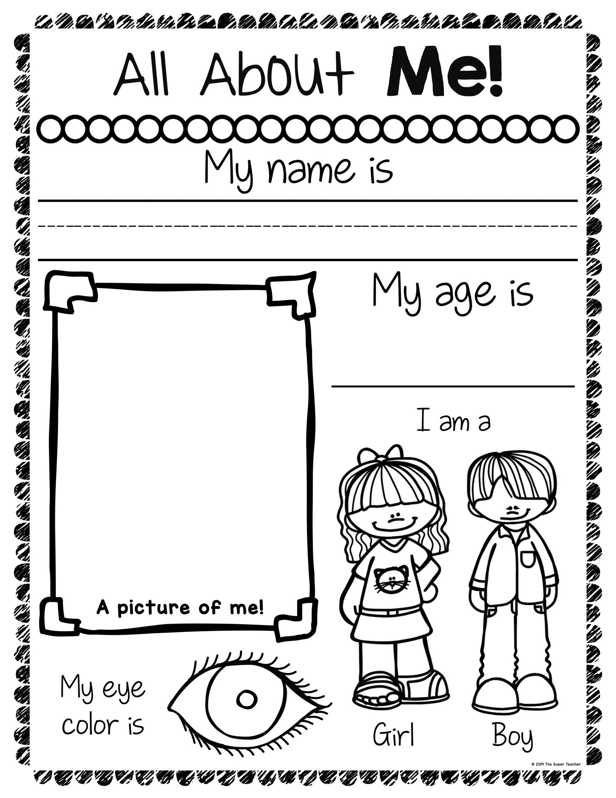 All About Me Kindergarten Worksheet All About Me Worksheets