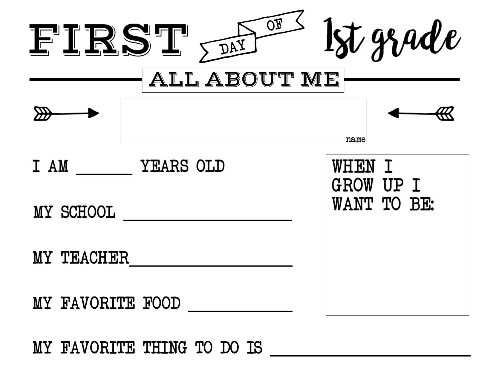 All About Me Kindergarten Worksheet First Day Of School All About Me Sign