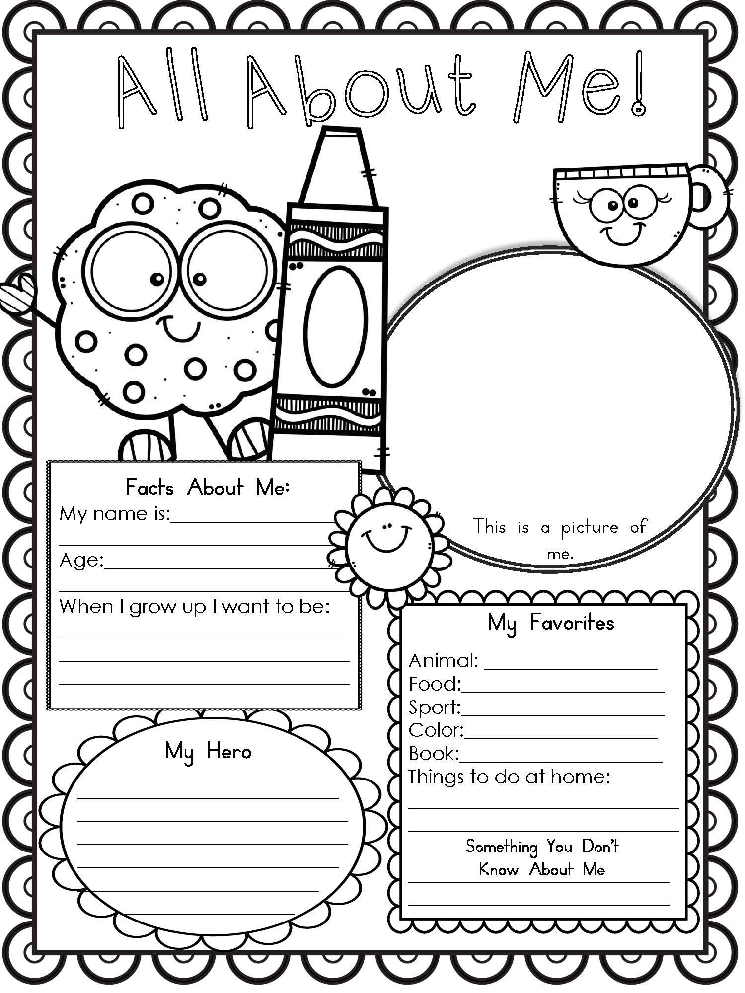 All About Me Printable Page 1