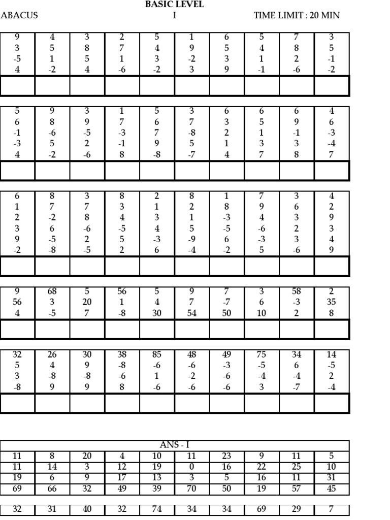Aloha Math Worksheets Ucmas Basic Free as Excel Spreadsheet Xls Pdf