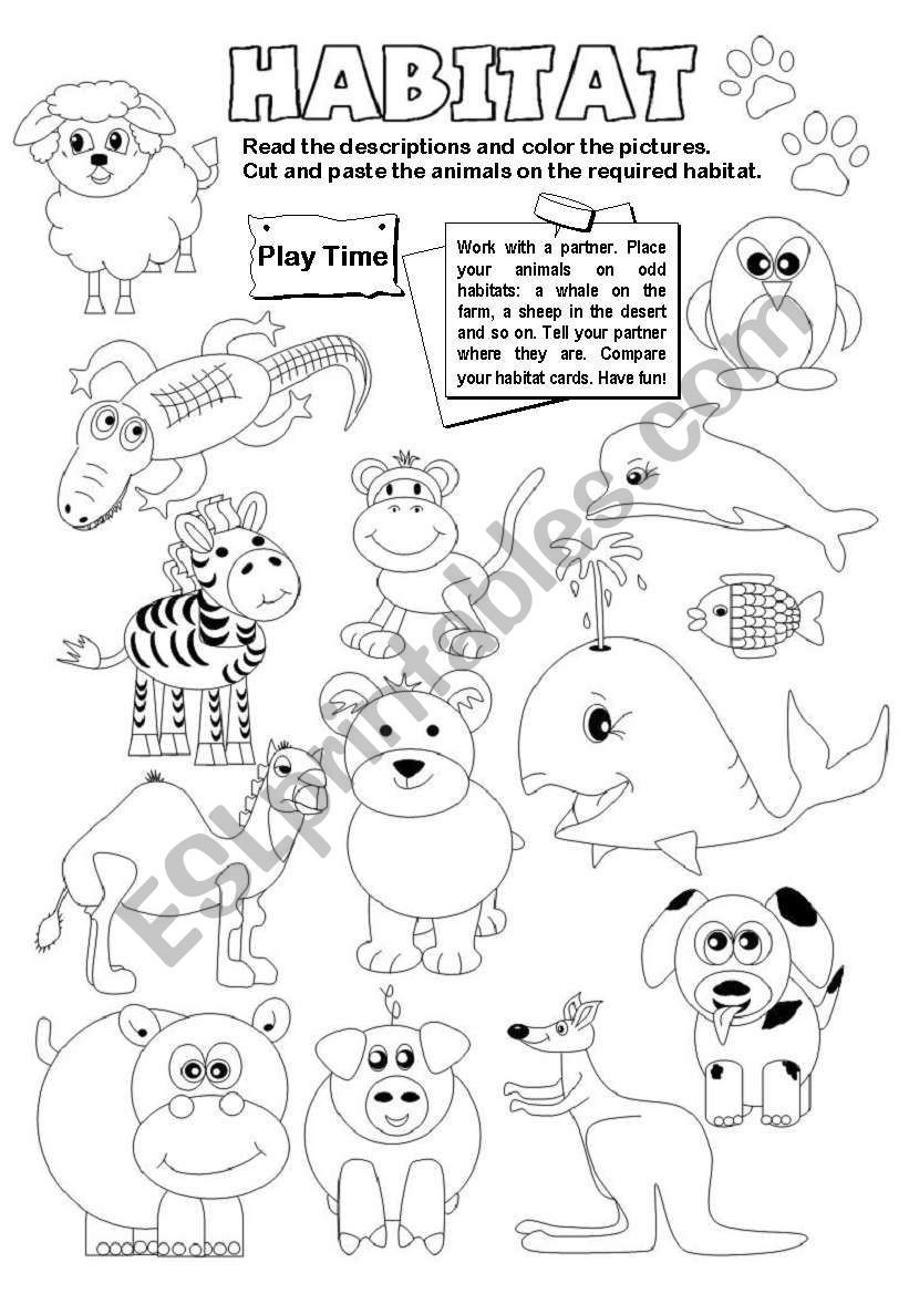Animal Habitat Worksheets for Kindergarten Animal Habitats Esl Worksheet by Gabitza