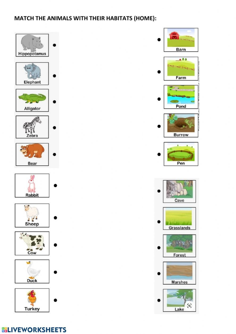 Animal Habitats Worksheets for Kindergarten Animal Habitats and Home Interactive Worksheet Worksheets