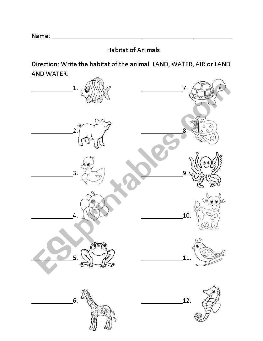 Animal Habitats Worksheets for Kindergarten English Worksheets Habitat Of Animals
